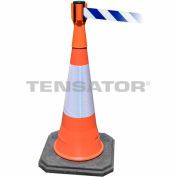 Tensacone Topper - Orange with Blue and White Diagonal Striped Belt