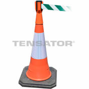 Tensacone Topper - Orange with Green and White Diagonal Striped Belt