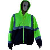 Petra Roc Thermal Lined Zip-Up Hoodie, ANSI Class 3, 2 Slash Pockets, Polar Fleece, Lime/Black, S
