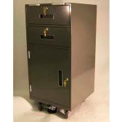 "Fenco Bus Teller Pedestal Cabinet 204-BC-18-L-B - 2 Drawers Over Door 18""W x 19""D x 38-1/2""H Black"