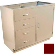 "Lab Base Cabinet 35""W x 22-1/2""D x 35-3/4""H, 4 Drawers, 1 Side Cupboard Door, W/1 Shelf, Burgundy"