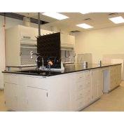 """Lab Design Island Bench 131""""W X 60"""" D X 3'3/4""""H, 6 Door, Burgundy"""