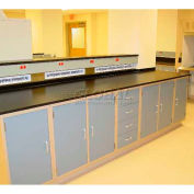 "Lab Design Workbench 16'4""W X 30""D X 3'-3/4""H, Burgundy"