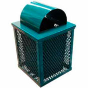 32 Gallon Square Expanded Metal Receptacle - Blue