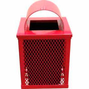 32 Gallon Square Expanded Metal Receptacle - Red