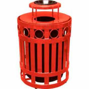 32 Gallon Ring Receptacle With Ash Bonnet - Red