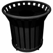22 Gallon Welded Receptacle With Metal Lid - Black