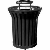 32 Gallon Welded Receptacle With Ash Bonnet - Black
