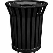 32 Gallon Welded Receptacle With Metal Lid - Black