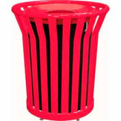 32 Gallon Welded Receptacle With Metal Lid - Red