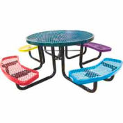"46"" Round Child's Picnic Table, Expanded Metal, In-Ground Mount, Multi Colors"