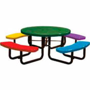 "46"" Round Child's Picnic Table, Perforated Metal, Surface Mount, Multi Colors"
