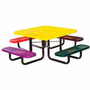 "46"" Square Child's Picnic Table, Expanded Metal, In-Ground Mount, Multi Colors"