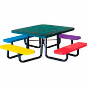 "46"" Square Child's Picnic Table, Perforated Metal, Surface Mount, Multi Colors"