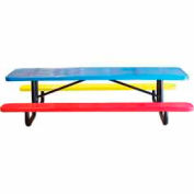 8' Child's Picnic Table, Perforated Metal, In-Ground Mount, Multi Colors