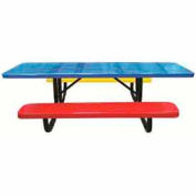 8' Child's Picnic Table, Perforated Metal, Portable Mount, 6' Seats, Multi Colors