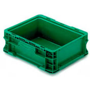 """ORBIS Stakpak NXO1215-5 Modular Straight Wall Container, 12""""L x 15""""W x 5""""H, Green"""