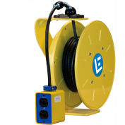 Lind Equipment LE9050123QB2 50Ft 12/3 SJOW Cable Cord Reel W/ 20 A Quad Box