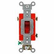 Leviton 1221-Plr 20a, 120v, Illuminated On,Single-Pole Ac Quiet Switch, Red - Min Qty 9
