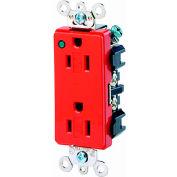 Leviton 16262-Plr 15a, 125v, Decora Plus Duplex Receptacle, Power Indication, Red - Min Qty 9