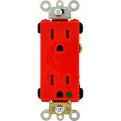 Leviton 16262-Sgr 15a, 125v, Decora Plus Duplex Receptacle, Tamper Resistant, Red - Min Qty 11
