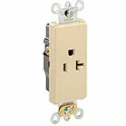 Leviton 16351-I 20a, 125v, Decora Plus Sgl Recpt., Commercial, Self-Grounding, Ivory-Min Qty 24