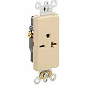 Leviton 16451-I 20a, 250v, Decora Plus Sgl Recpt., Commercial, Self-Grounding, Ivory-Min Qty 24