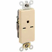 Leviton 16651-I 15A, 250V, NEMA 6-15R, Decora Plus Single Receptacle, Commercial Grade, Ivory
