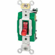 Leviton 3032-Plr 30a, 120v, Illuminated On, Double-Pole Ac Quiet Switch, Red - Min Qty 7