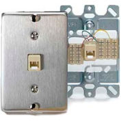Leviton 40223-S Telephone Wall Jack, 6p4c, Quick Connect, Stainless Steel - Min Qty 20