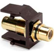 Leviton 40830-BBE QuickPort RCA Gold-Plated Connector with Black Stripe, Brown