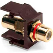 Leviton 40830-BBR QuickPort RCA Gold-Plated Connector with Red Stripe, Brown