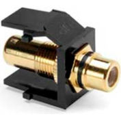 Leviton 40830-BEE QuickPort RCA Gold-Plated Connector with Black Stripe, Black