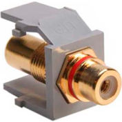 Leviton 40830-BGR QuickPort RCA Gold-Plated Connector with Red Stripe, Grey