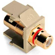 Leviton 40830-BIR QuickPort RCA Gold-Plated Connector with Red Stripe, Ivory