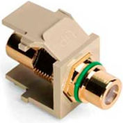 Leviton 40830-BIV QuickPort RCA Gold Plated Connector with Green Stripe, Ivory