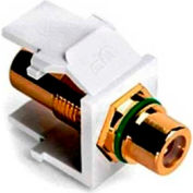 Leviton 40830-BWV QuickPort Rca, Gold Plated Connector with Green Stripe, White