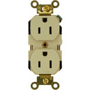 Leviton 5262-I 15a, 125v, Duplex Receptacle, Self Grounding, Ivory - Min Qty 22