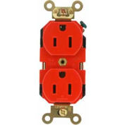 Leviton 5262-R 15a, 125v, Duplex Receptacle, Self Grounding, Red - Min Qty 22