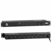 Leviton 5500-190 Horizontal Rack Mount PDU w/ Surge Protection, On/Off, NEMA 5-15P, 120V, 15A
