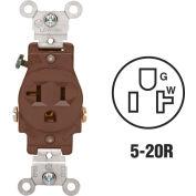 Leviton 5801 20A, 125V, NEMA 5-20R, 2P, 3W, Single Recpt., Grounding, Brown