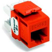 Leviton 61110-Ro6 Extreme 6+ Quickport Connector, Cat 6, Orange - Min Qty 13