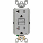 Leviton GFNT2-GY 20A SmartlockPro Self-Test GFCI Duplex Recpt, Ind Light, Wire Leads, Gray