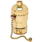 Leviton 8002-Br Medium Base Complete, Brass Shell Incandescent Lampholder - Min Qty 17