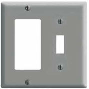 Leviton 80405-GY 2-Gang 1-Toggle 1-Decora/GFCI Device Combo, Standard, Gray