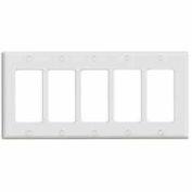 Leviton 80423-W 5-Gang Decora/Gfci Device Decora, Standard, Thermoset, White - Min Qty 18