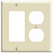 Leviton 80455-I 2-Gang 1-Duplex 1-Decora/GFCI Device Combo, Standard, Ivory