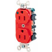 Leviton 8200-Plr 15a, 125v, Duplex Receptacle, Self Grounding, Red - Min Qty 9