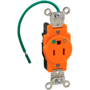 Leviton 8210-IG 15A, 125V, Narrow Body Single Receptacle, Isolated Ground,Orange - Pkg Qty 10