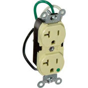 Leviton 8300-Li 20a, 125v, Slim Body Duplex Receptacle, Grounding, Ivory - Min Qty 10
